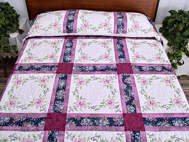 Mauve Floral Cross Stitch Quilt Photo 1