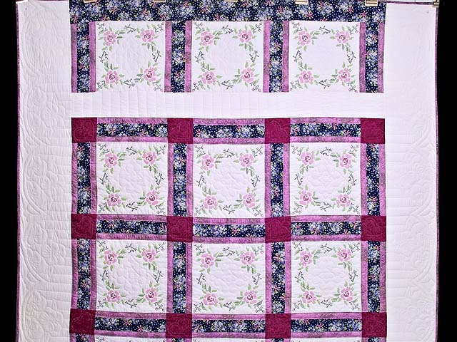 Mauve Floral Cross Stitch Quilt Photo 2
