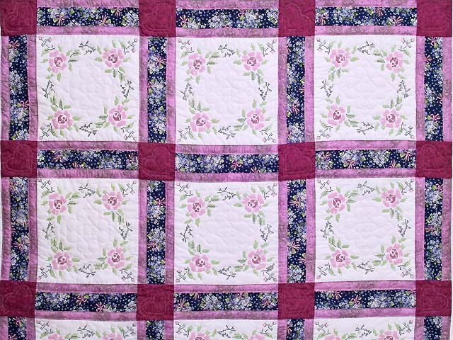 Mauve Floral Cross Stitch Quilt Photo 3