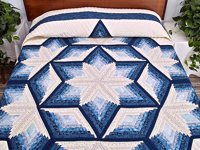 Blue and Cream Diamond Star Log Cabin Quilt Photo 1