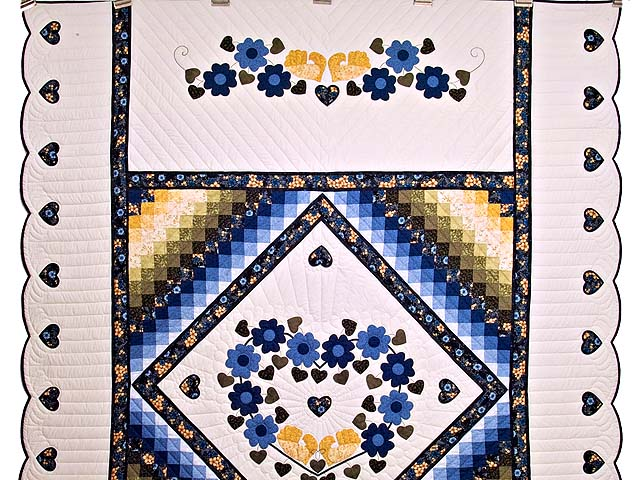 Blue and Golden Yellow Sunshine Sweetheart Quilt Photo 2