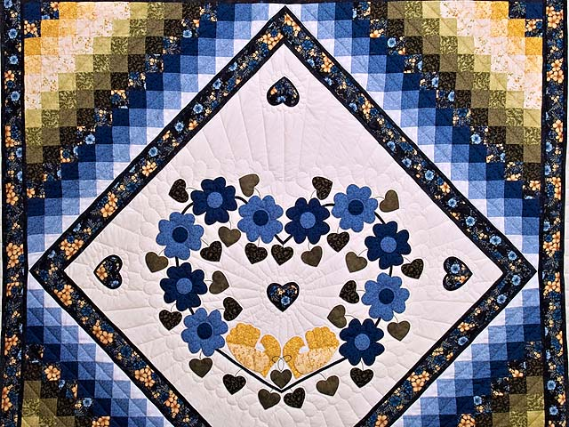 Blue and Golden Yellow Sunshine Sweetheart Quilt Photo 3