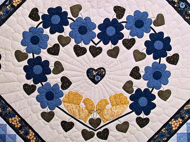 Blue and Golden Yellow Sunshine Sweetheart Quilt Photo 4