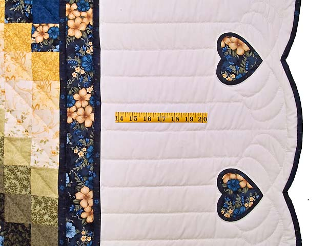 Blue and Golden Yellow Sunshine Sweetheart Quilt Photo 7