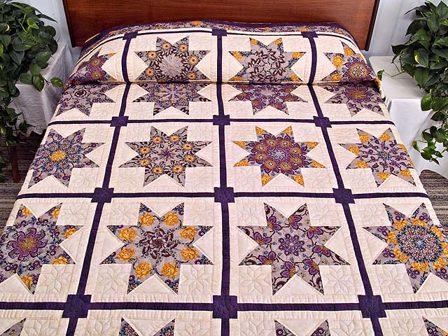 Mauve and Gold Stack and Whack Stars Quilt Photo 1