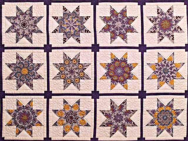 Mauve and Gold Stack and Whack Stars Quilt Photo 3