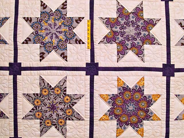 Mauve and Gold Stack and Whack Stars Quilt Photo 4