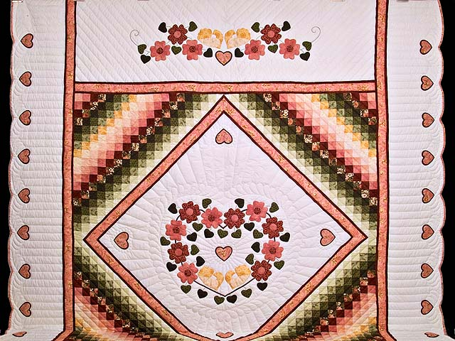 King Rose Gold and Green Sunshine Sweetheart Quilt Photo 2