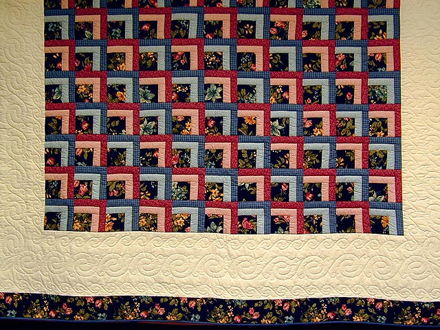 Blue and Rose Garden Shadow Quilt Photo 2