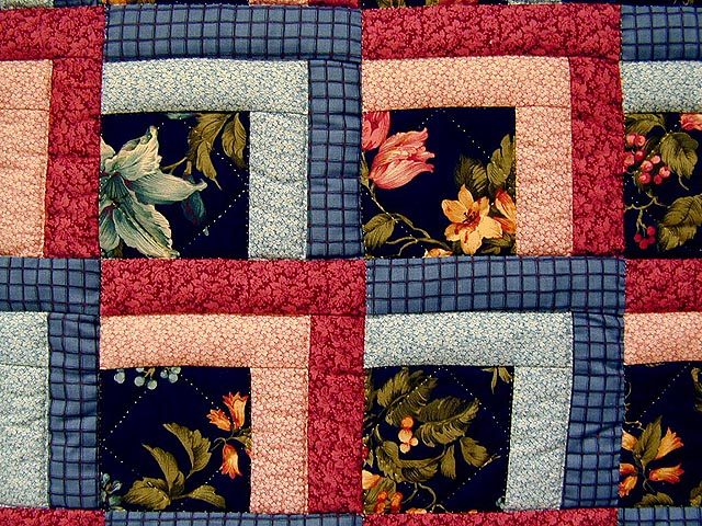 Blue and Rose Garden Shadow Quilt Photo 3