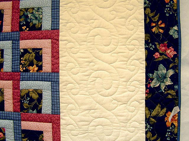 Blue and Rose Garden Shadow Quilt Photo 4