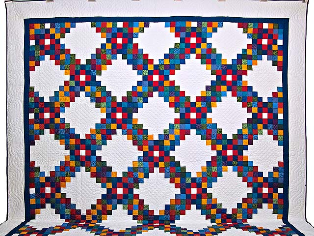 King Bright Multicolor Triple Irish Chain Quilt Photo 2