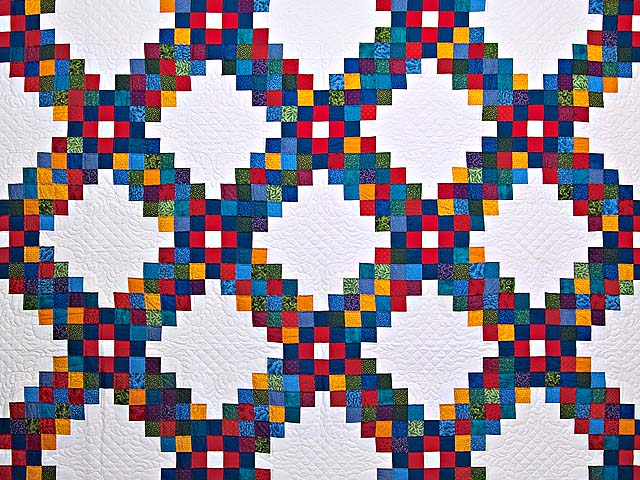 King Bright Multicolor Triple Irish Chain Quilt Photo 3