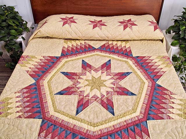 Raspberry Blue and Tan Royal Star of Maryland Quilt Photo 1
