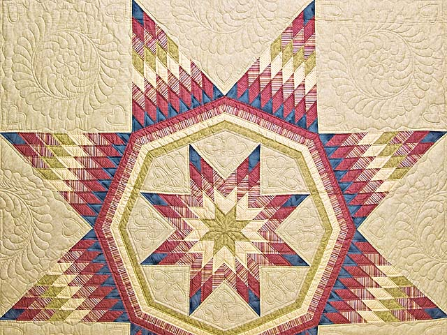 Raspberry Blue and Tan Royal Star of Maryland Quilt Photo 3
