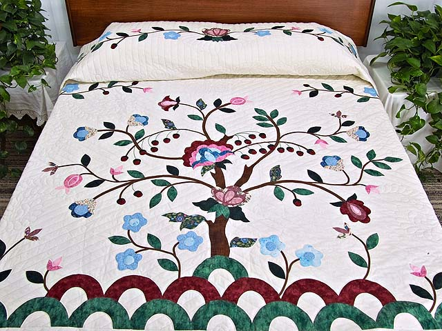 Rose Blue And Green Tree Of Life Appliqu 233 Quilt