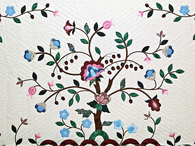 Rose Blue and Green Tree of Life Appliqué Quilt Photo 3