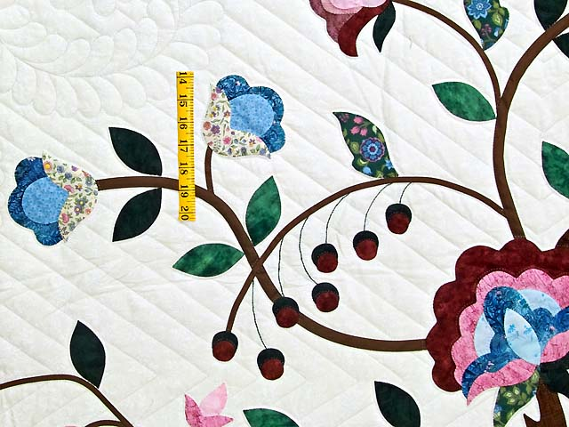 Rose Blue and Green Tree of Life Appliqué Quilt Photo 5