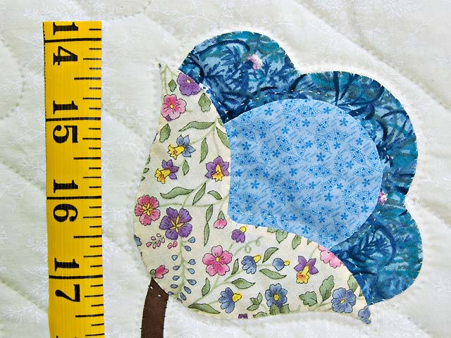 Rose Blue and Green Tree of Life Appliqué Quilt Photo 6