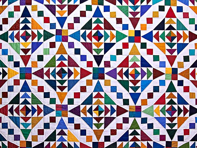 King Colorful Faceted Jewels Quilt Photo 3