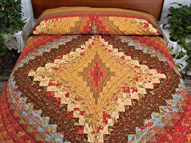 Brown Golden Tan  Red and Blue Diamond Bargello Quilt Photo 1