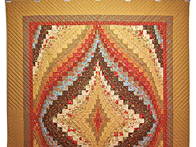 Brown Golden Tan  Red and Blue Diamond Bargello Quilt Photo 2