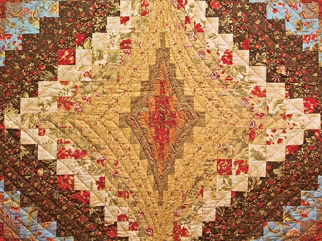 Brown Golden Tan  Red and Blue Diamond Bargello Quilt Photo 3