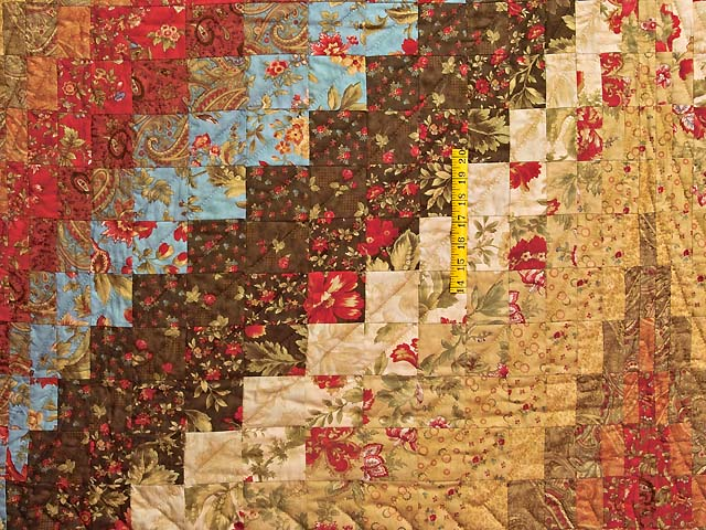 Brown Golden Tan  Red and Blue Diamond Bargello Quilt Photo 4