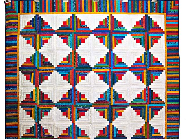 Colorful Log Cabin Quilt Photo 2