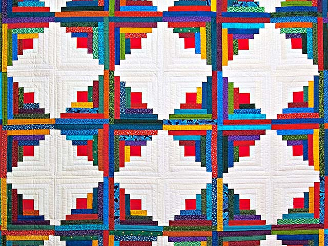 Colorful Log Cabin Quilt Photo 3
