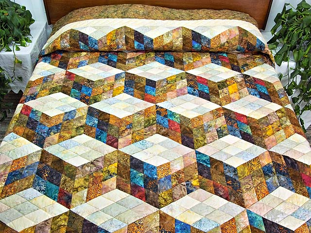 King Hand Painted Tumbling Blocks Quilt Photo 1