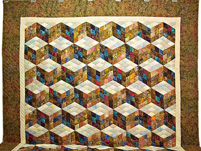 King Hand Painted Tumbling Blocks Quilt Photo 2