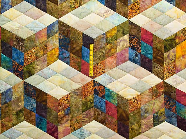 King Hand Painted Tumbling Blocks Quilt Photo 4