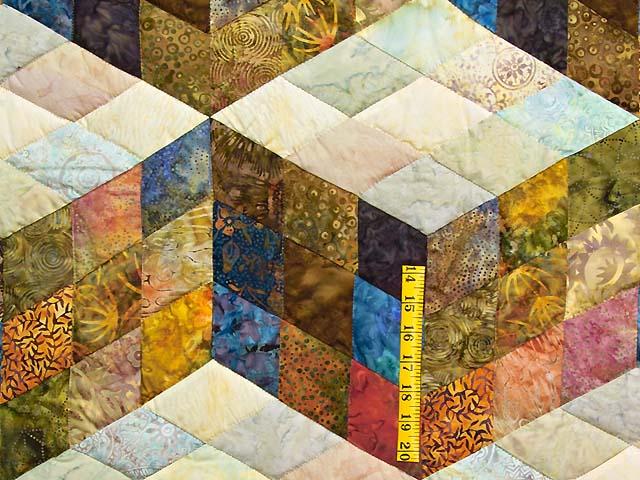 King Hand Painted Tumbling Blocks Quilt Photo 5