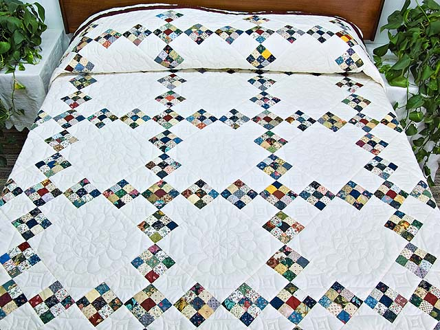 King Blue Burgundy and Multi Double Nine Patch Quilt Photo 1