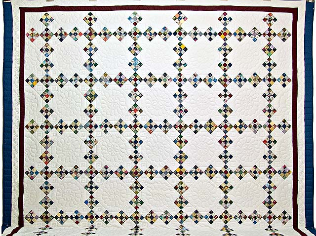 King Blue Burgundy and Multi Double Nine Patch Quilt Photo 2