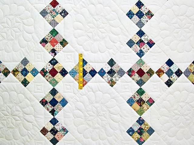 King Blue Burgundy and Multi Double Nine Patch Quilt Photo 4