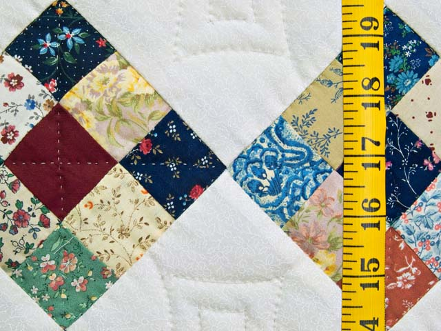 King Blue Burgundy and Multi Double Nine Patch Quilt Photo 6