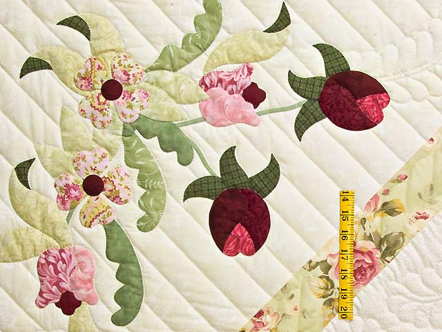 King Willow Green and Rose Spring Basket Quilt Photo 5
