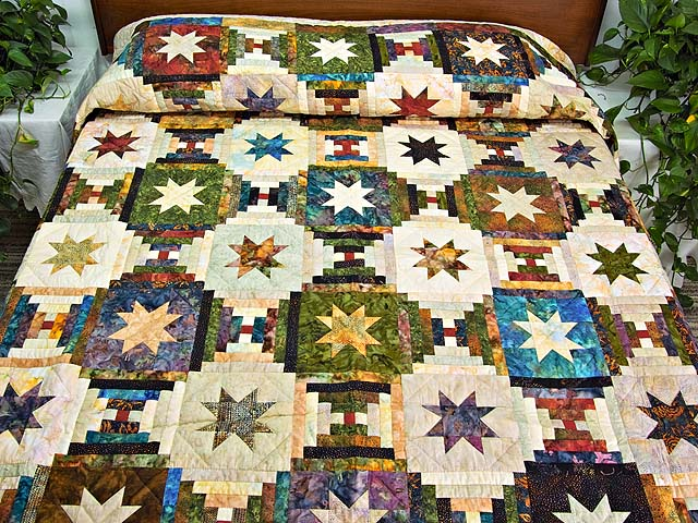Hand Painted Courthouse Log Cabin Stars Quilt Photo 1