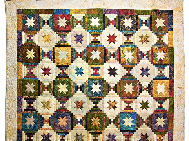 Hand Painted Courthouse Log Cabin Stars Quilt Photo 2