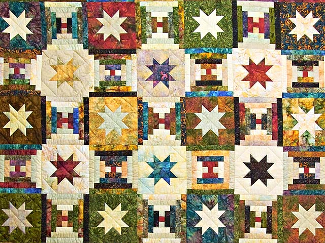 Hand Painted Courthouse Log Cabin Stars Quilt Photo 3