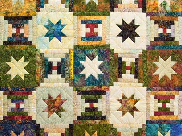 Hand Painted Courthouse Log Cabin Stars Quilt Photo 4