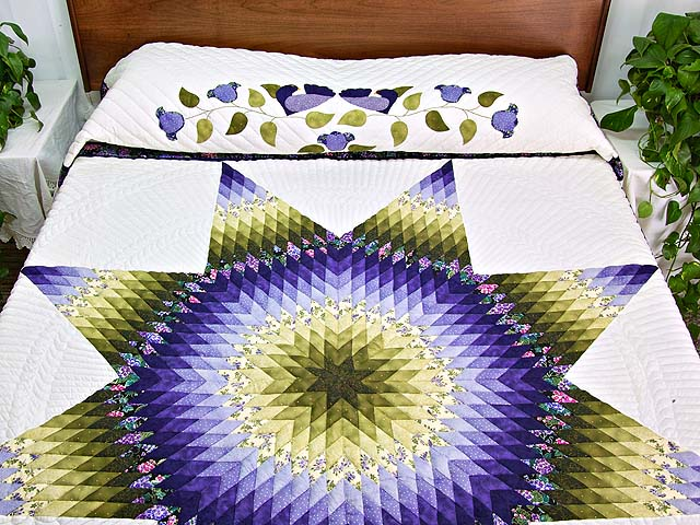 Green and Purple Lone Star Country Bride Quilt Photo 1