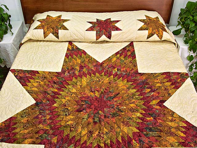 Red and Gold Hand Painted Lone Star Quilt Photo 1