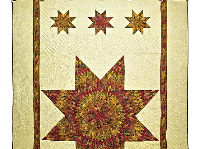Red and Gold Hand Painted Lone Star Quilt Photo 2