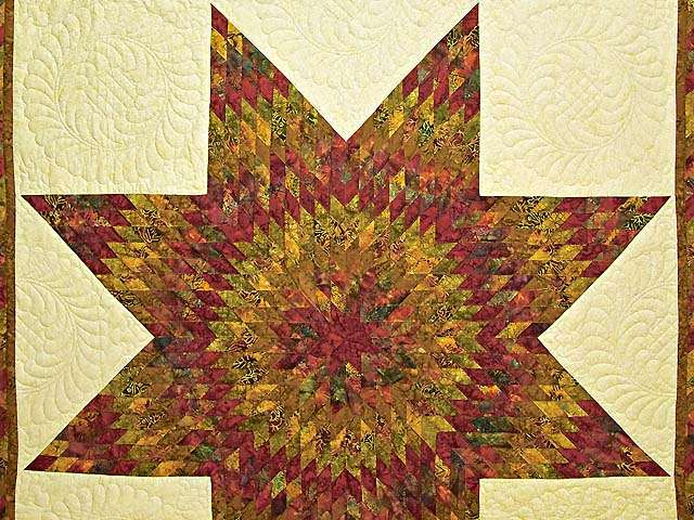 Red and Gold Hand Painted Lone Star Quilt Photo 3