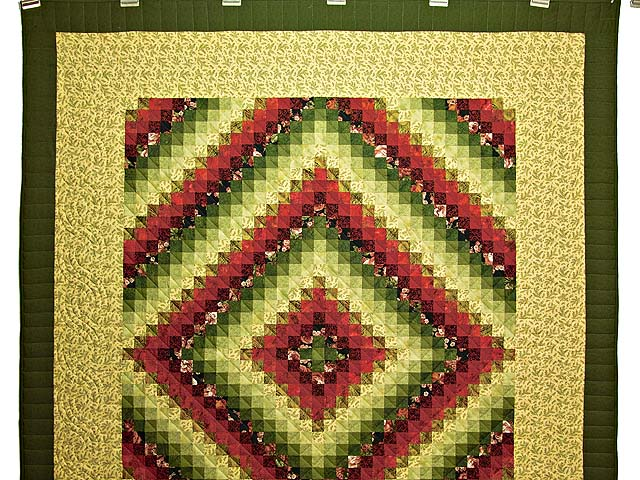 Burgundy Green and Golden Tan Trip Around the World Quilt Photo 2