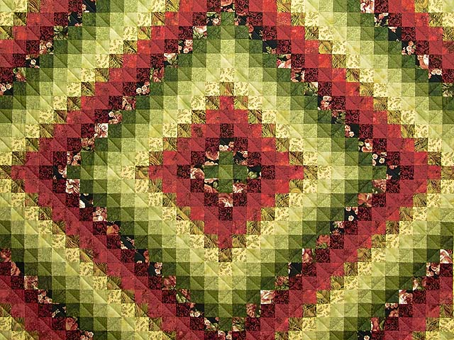 Burgundy Green and Golden Tan Trip Around the World Quilt Photo 3