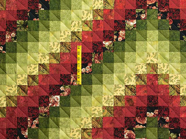 Burgundy Green and Golden Tan Trip Around the World Quilt Photo 4
